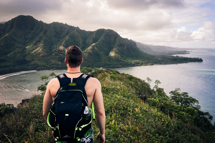 Hiker on the Crouching Lion trail in Oahu, Hawaii