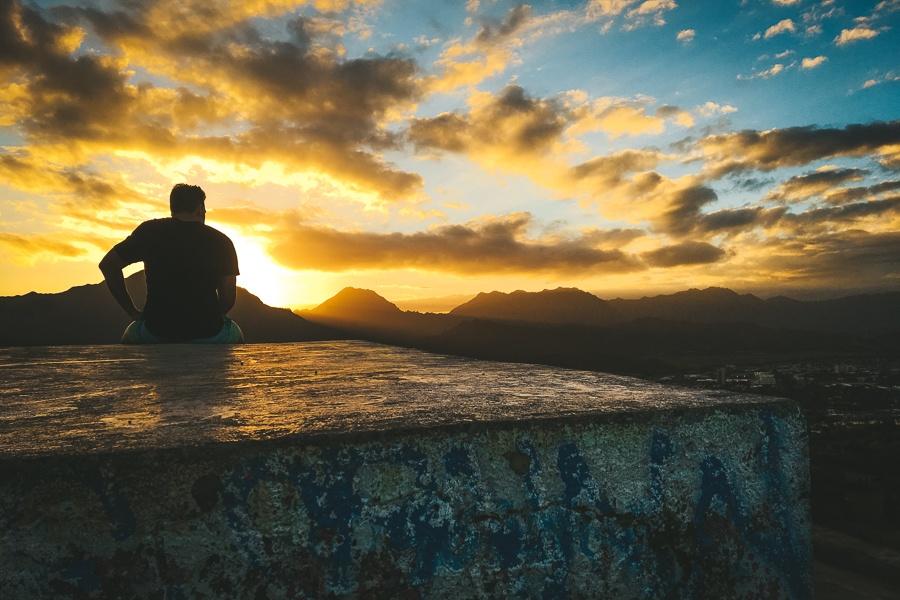 Sunset view at the Lanikai Pillbox Hike in Oahu, Hawaii