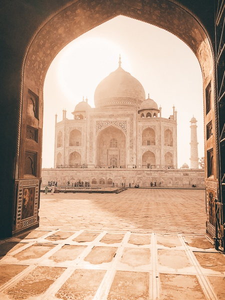 Domed doorway at the Taj Mahal in Agra, India