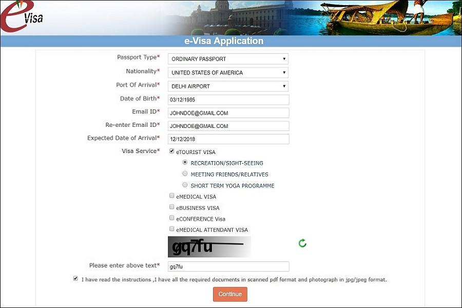 India e-Visa online application guide and steps on page 1