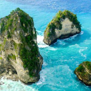 Small islands at the Raja Lima viewpoint in Nusa Penida, Bali