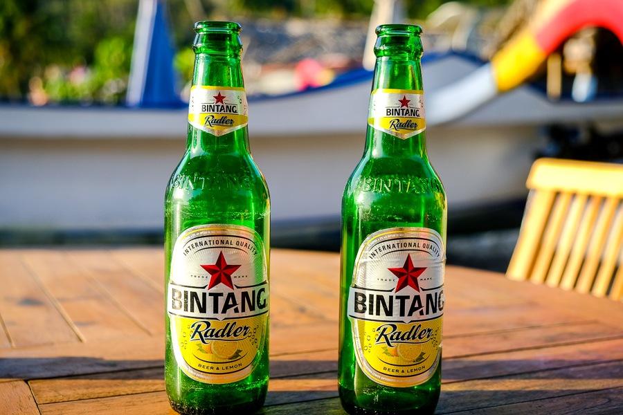 Bintang beers on a table at a Crystal Bay warung