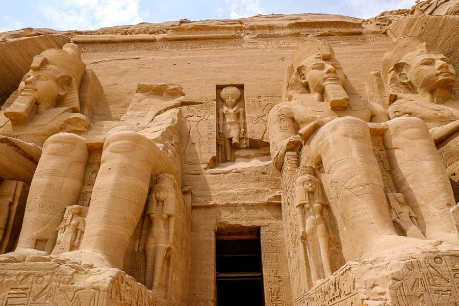 Statues and doorway of Abu Simbel Temple in Egypt