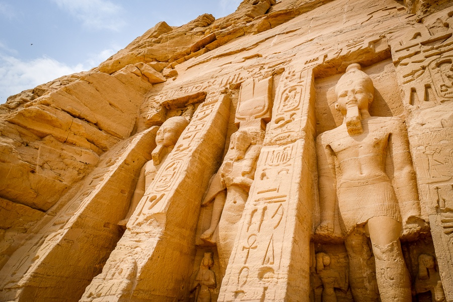 Small temple of the queen at Abu Simbel in Egypt
