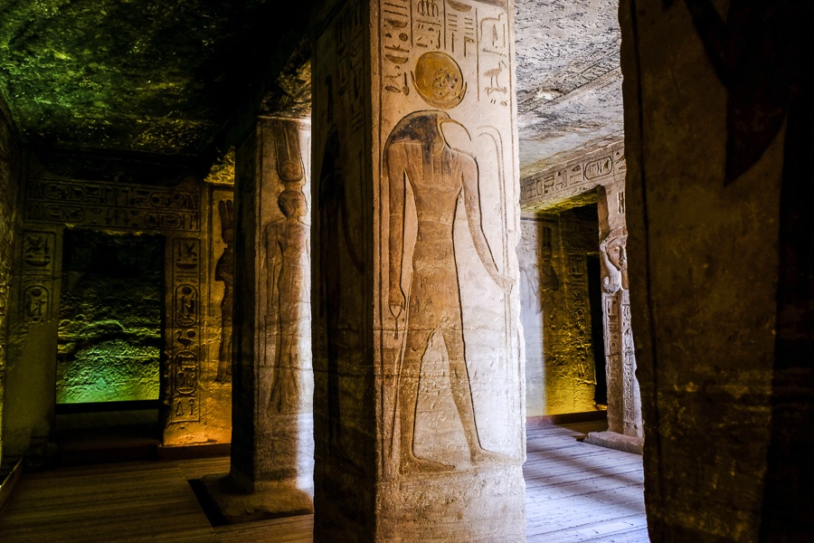 Inside the temple of the queen at Abu Simbel in Egypt