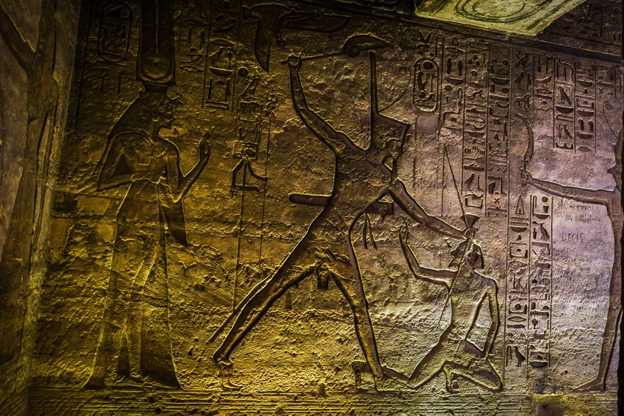 Hieroglyphs inside the small temple of the queen at Abu Simbel in Egypt
