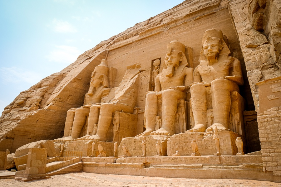 Main entrance of Abu Simbel Temple in Egypt