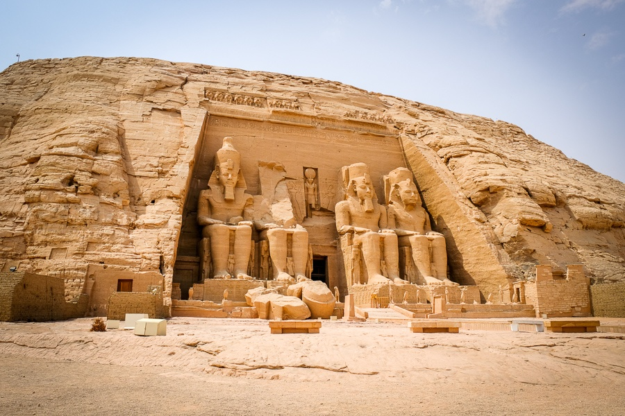 Main facade of Abu Simbel Temple in Egypt