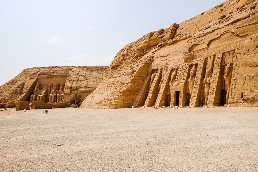 Distant view of both Abu Simbel temples in Egypt