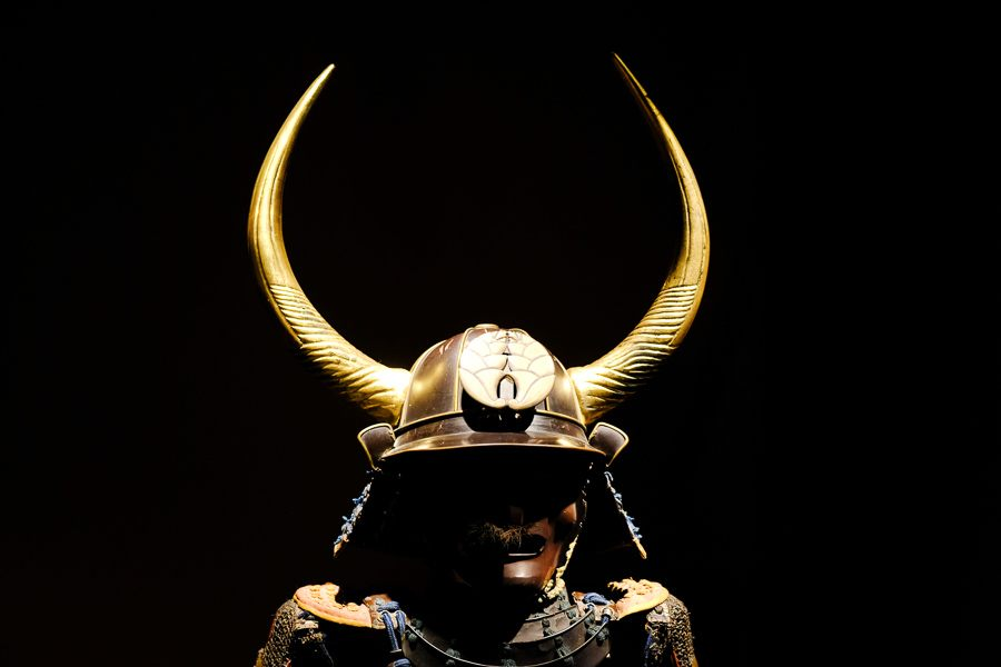 Samurai helmet on display at the Samurai Museum in Shinjuku, Tokyo, Japan