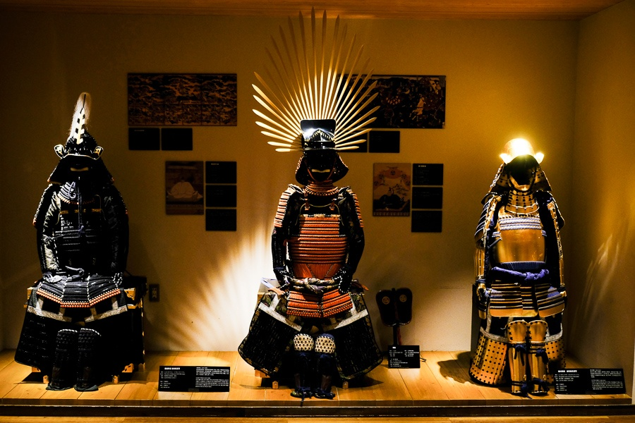Samurai armor on display at the Samurai Museum in Shinjuku, Tokyo, Japan