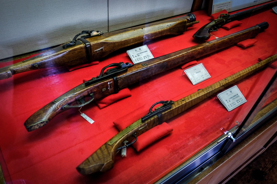 Weapons on display inside Matsumoto Castle in Japan