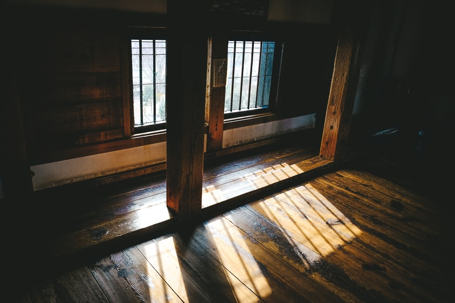 Inside the windows of Matsumoto Castle in Japan