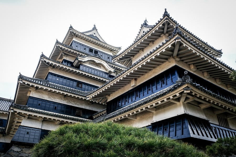 Matsumoto Castle rooftops in Japan