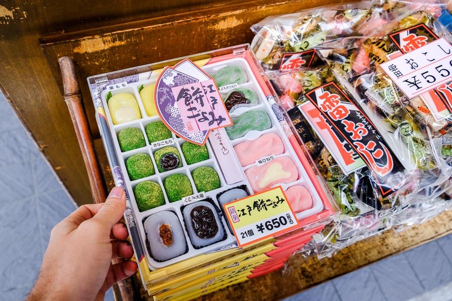 Souvenirs in the market at Sensoji Temple in Asakusa, Tokyo, Japan