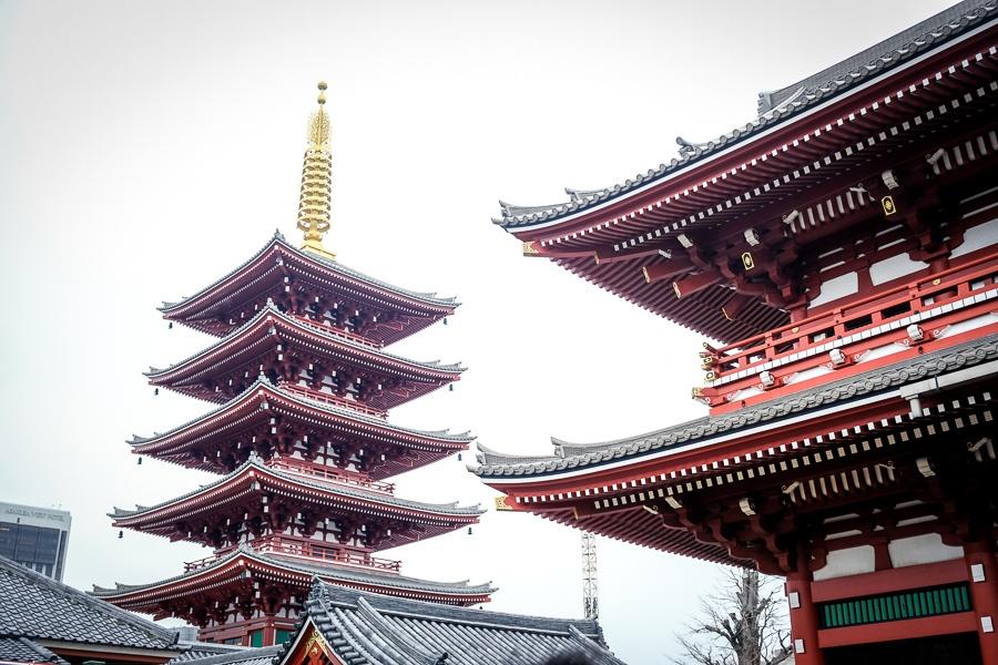 Sensoji Temple pagoda in Asakusa, Tokyo, Japan