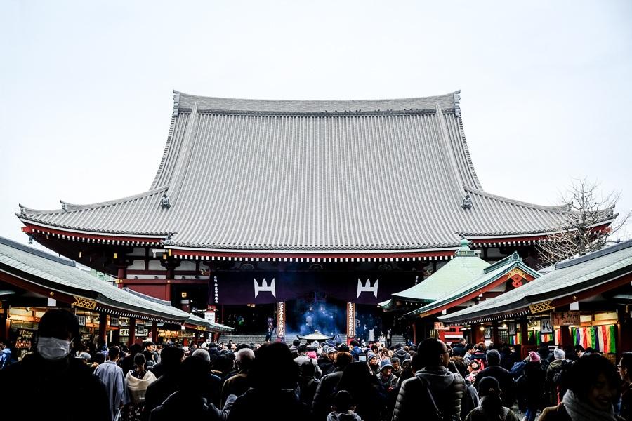 Main hall at Sensoji Temple in Asakusa, Tokyo, Japan