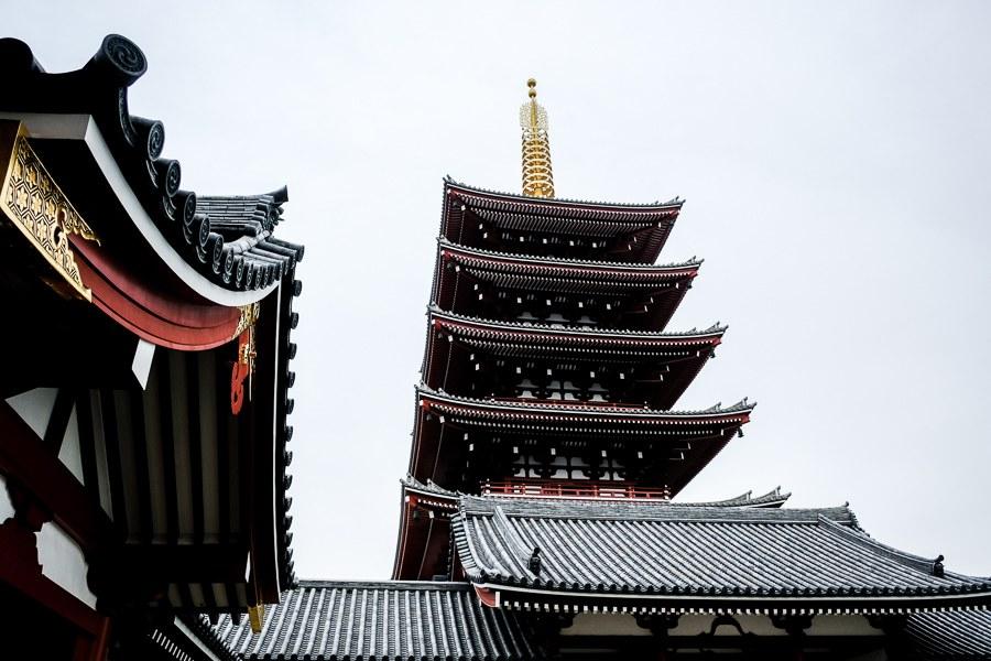 Pagoda at Sensoji Temple in Asakusa, Tokyo, Japan
