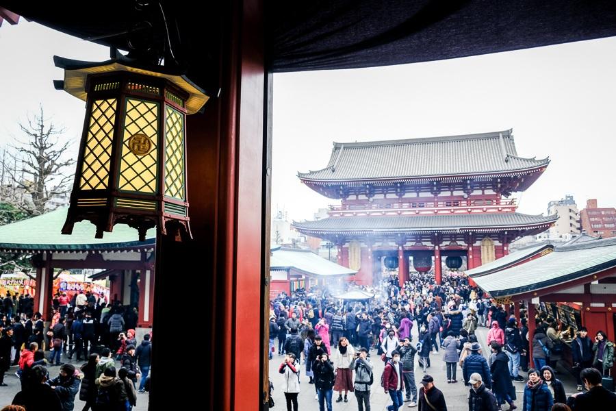 Crowded courtyard at Sensoji Temple in Asakusa, Tokyo, Japan