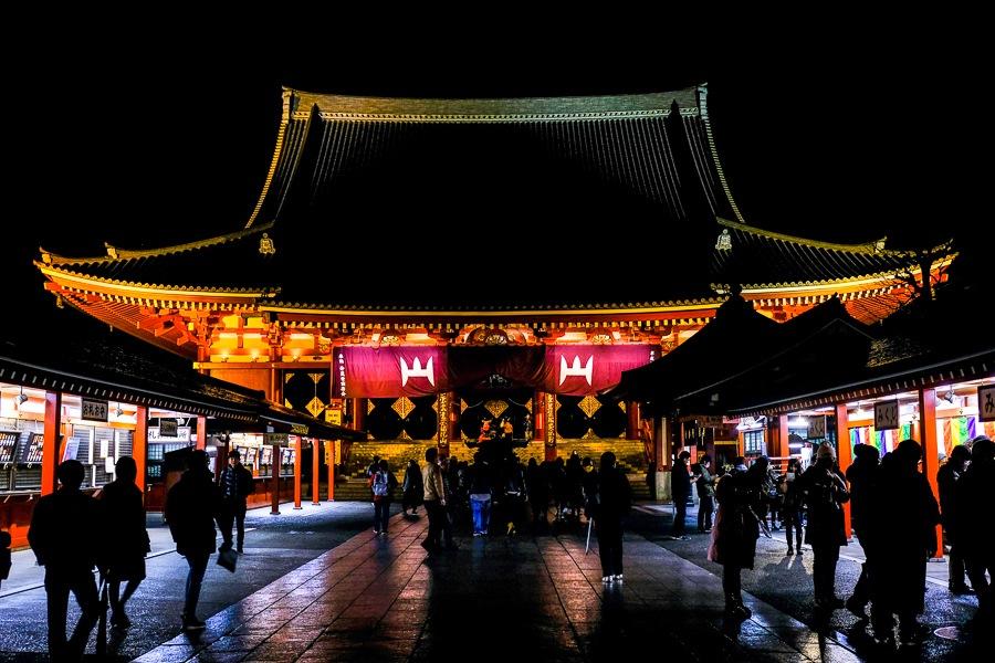 Night lighting of the main hall at Sensoji Temple in Asakusa, Tokyo, Japan