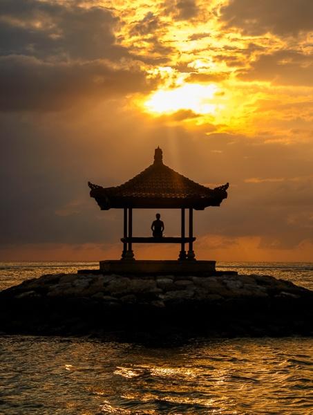 Sanur Beach pagoda sunrise in Bali