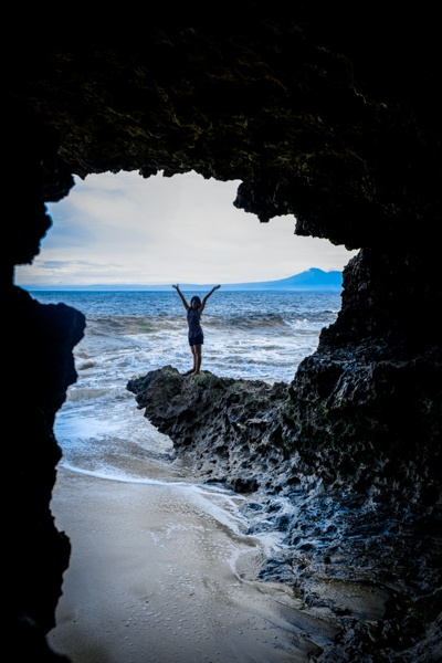 My woman at Tegal Wangi Beach & Cave in Bali