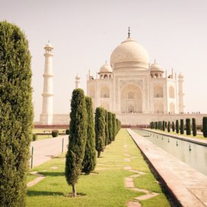 Garden and pool in front of the Taj Mahal in Agra, India