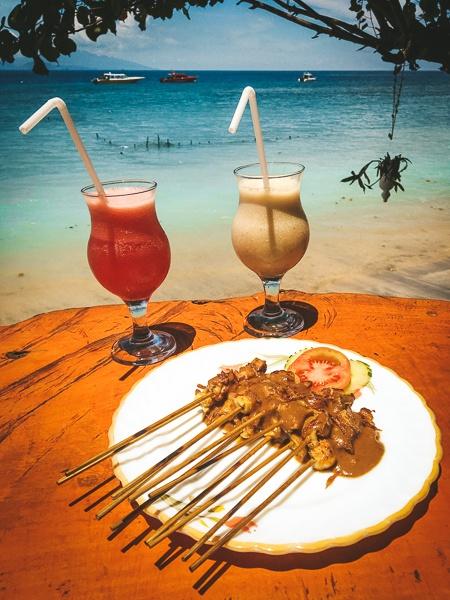 Fruit juice at a seaside cafe in Nusa Penida, Bali