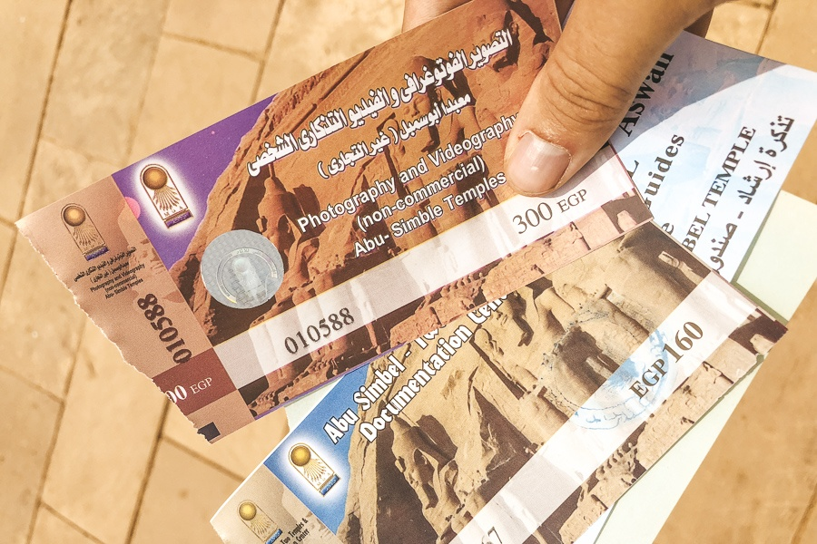 Entry tickets at Abu Simbel Temple in Egypt