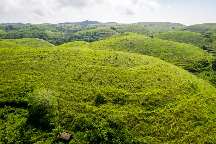 Drone view of Teletubbies Hill in Nusa Penida, Bali