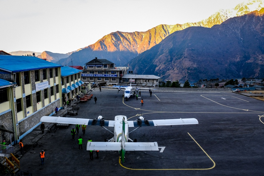 Planes parked at the Lukla airport on the EBC Trek in Nepal
