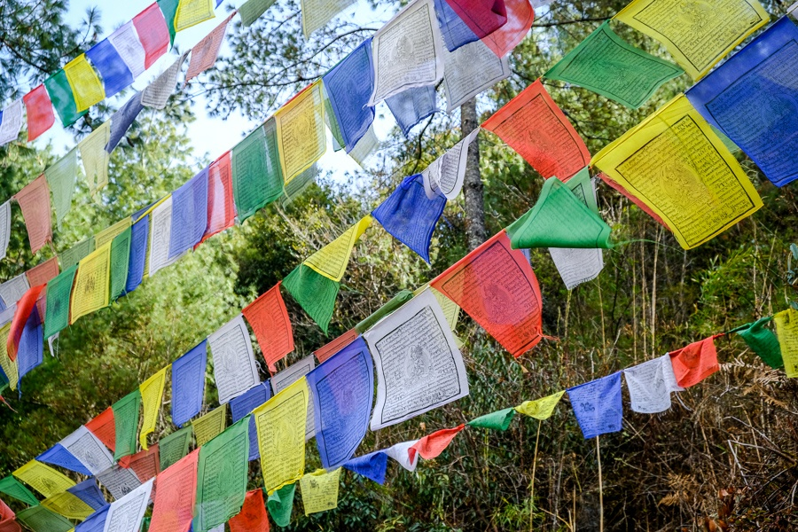 Nepali prayer flags on the EBC Trek in Nepal