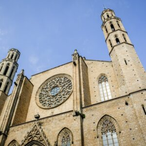 Front view of the Basilica De Santa Maria Del Mar Church in Barcelona, Spain