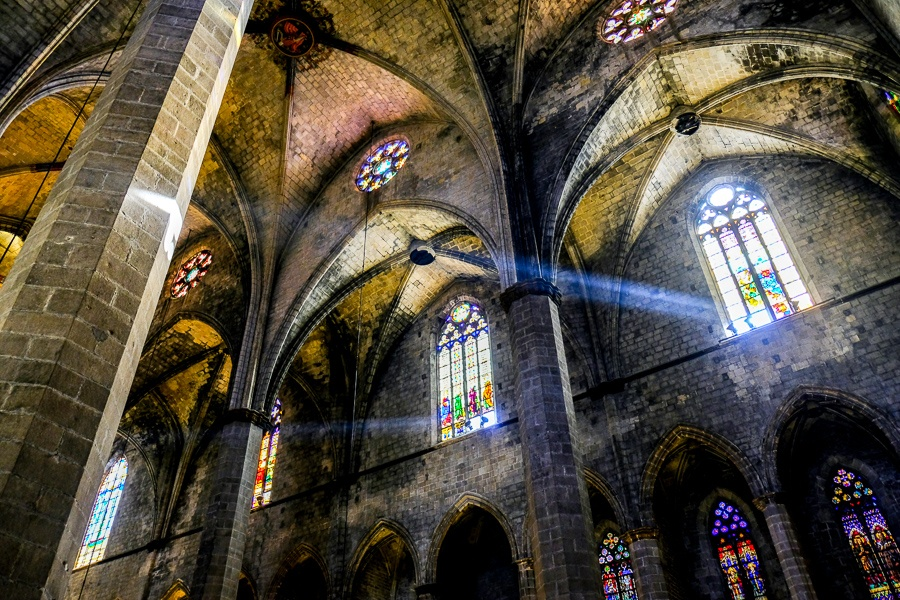 Inside the Basilica De Santa Maria Del Mar Church in Barcelona, Spain