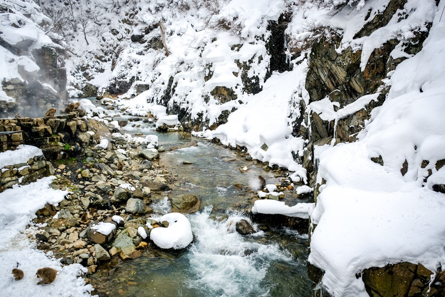 Snowy river in Nagano Japan