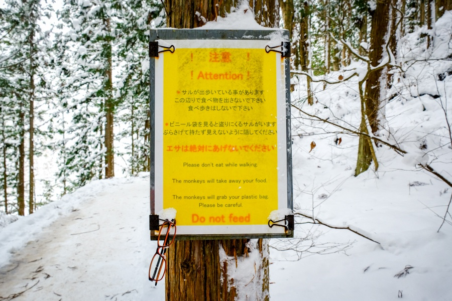 Monkey warning sign at Jigokudani in Nagano Japan