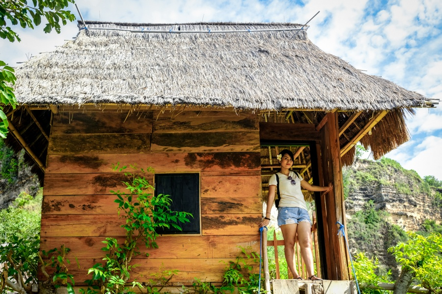 My woman at the Nusa Penida treehouse in Bali