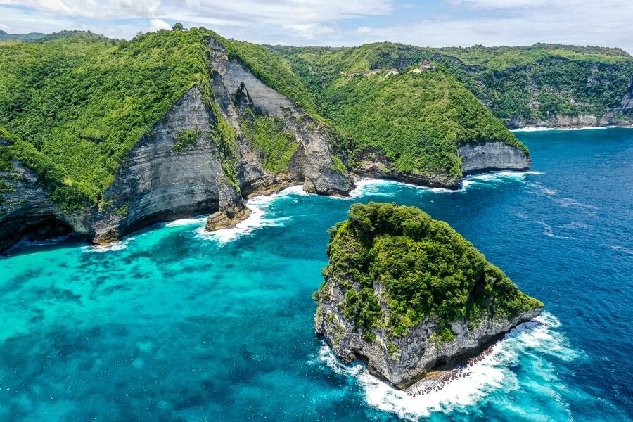 Rocky cliffs near Nusa Penida, Bali