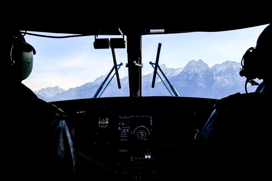 Inside our plane cockpit flying to Lukla airport on the EBC Trek in Nepal