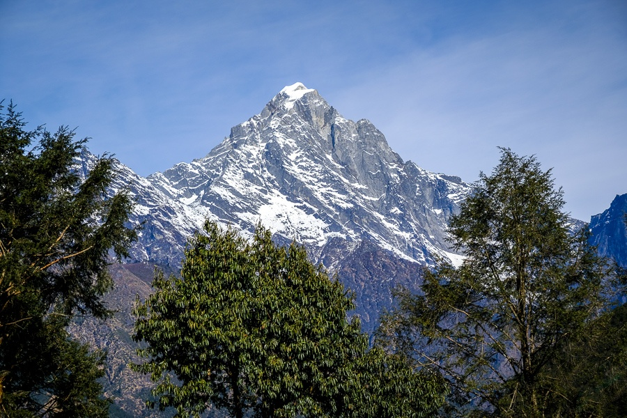 Forest and distant mountains on the EBC Trek in Nepal