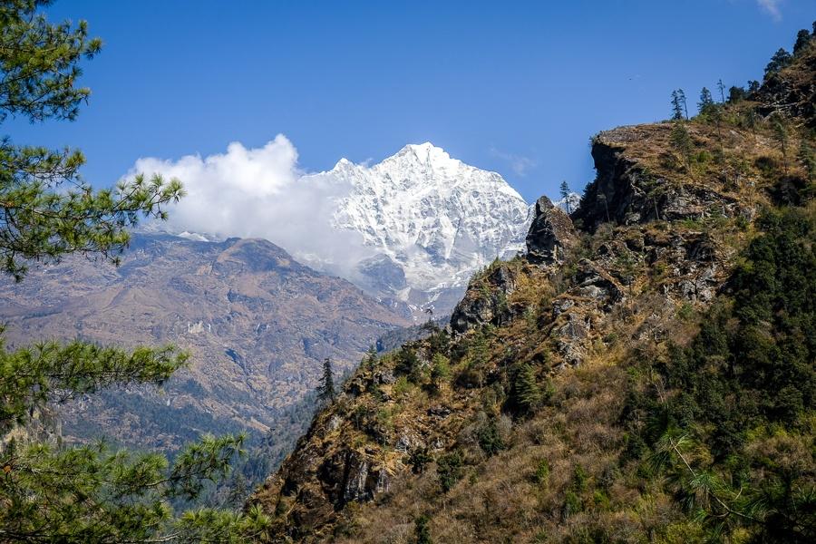 Distant mountains on the EBC Trek in Nepal