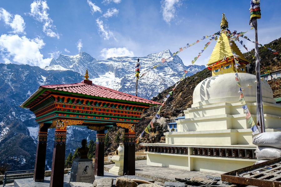 Stupa and mountains at Namche Bazaar on the EBC Trek in Nepal