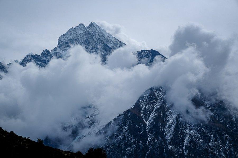 Cloudy mountains near Namche Bazaar in Nepal