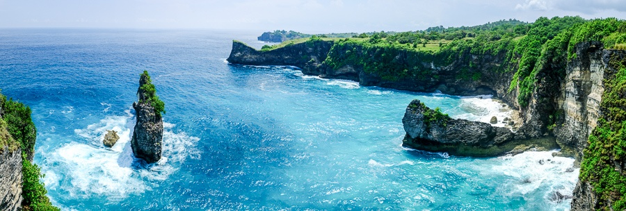 Korawa Beach panorama viewpoint in Nusa Penida Bali