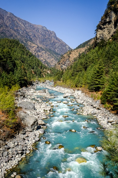 Turquoise river on the EBC Trek in Nepal