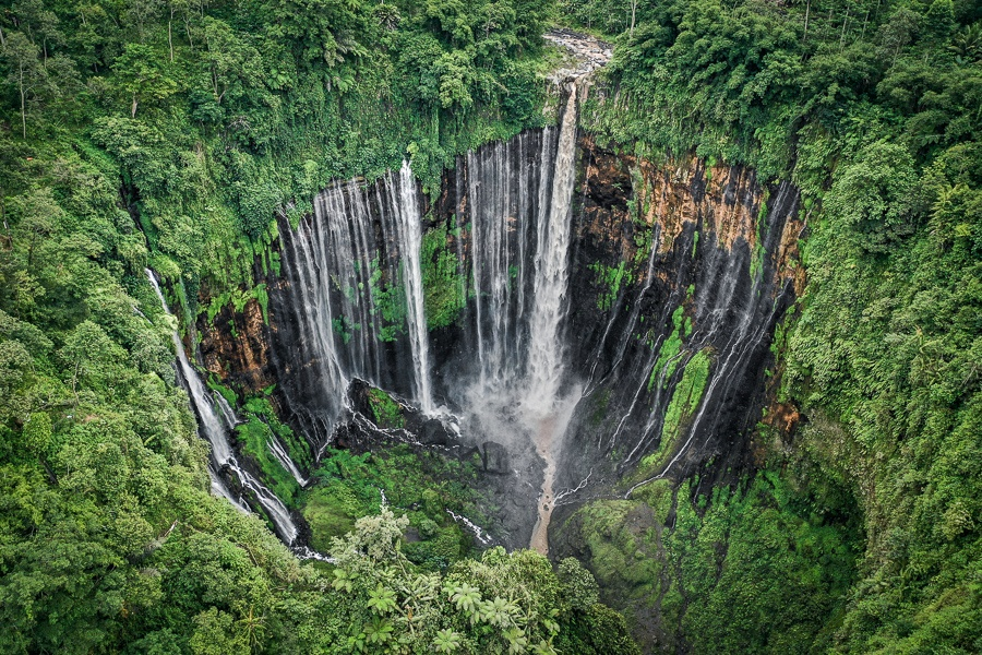 Drone pic of Tumpak Sewu Waterfall