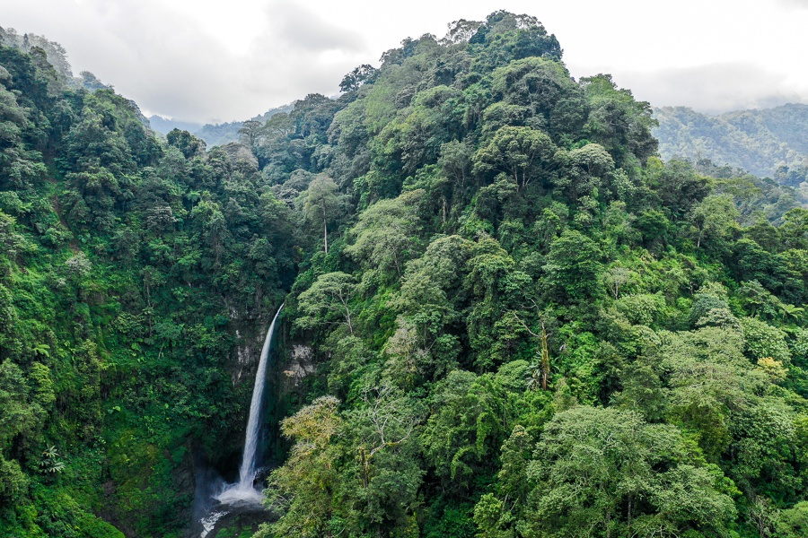 Drone pic of Coban Pelangi Waterfall in East Java Indonesia