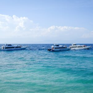 Speedboats at the harbor in Sampalan Nusa Penida Bali