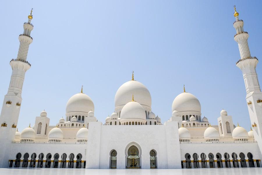 Sheikh Zayed Grand Mosque entrance in Abu Dhabi UAE
