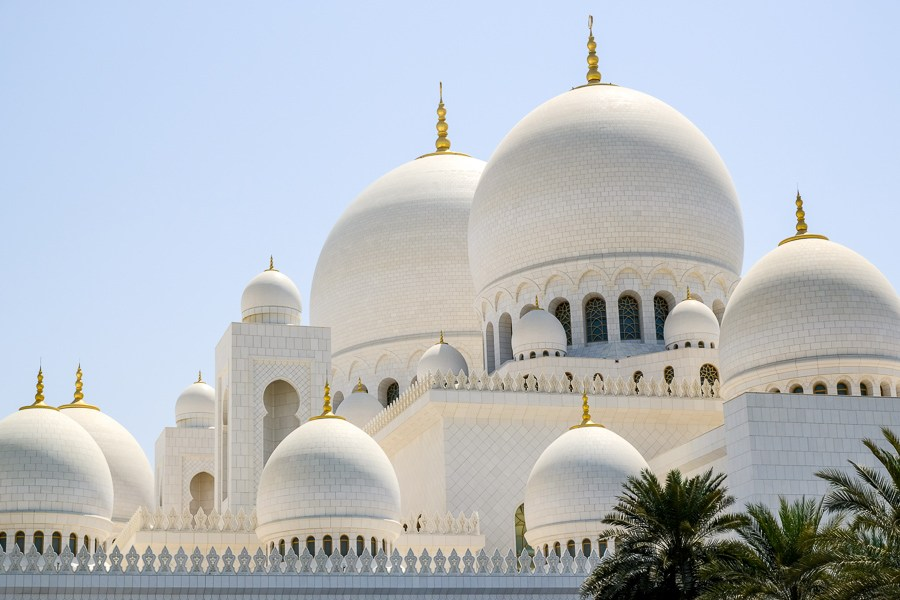 Top domes of the Sheikh Zayed Grand Mosque in Abu Dhabi UAE